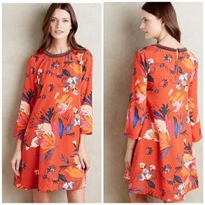 Maeve orange peonies tunic dress